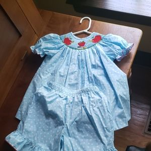 Beautiful Back to School Smocked dress and shorts